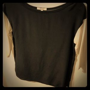 Color block black & white silk and jersey top xs
